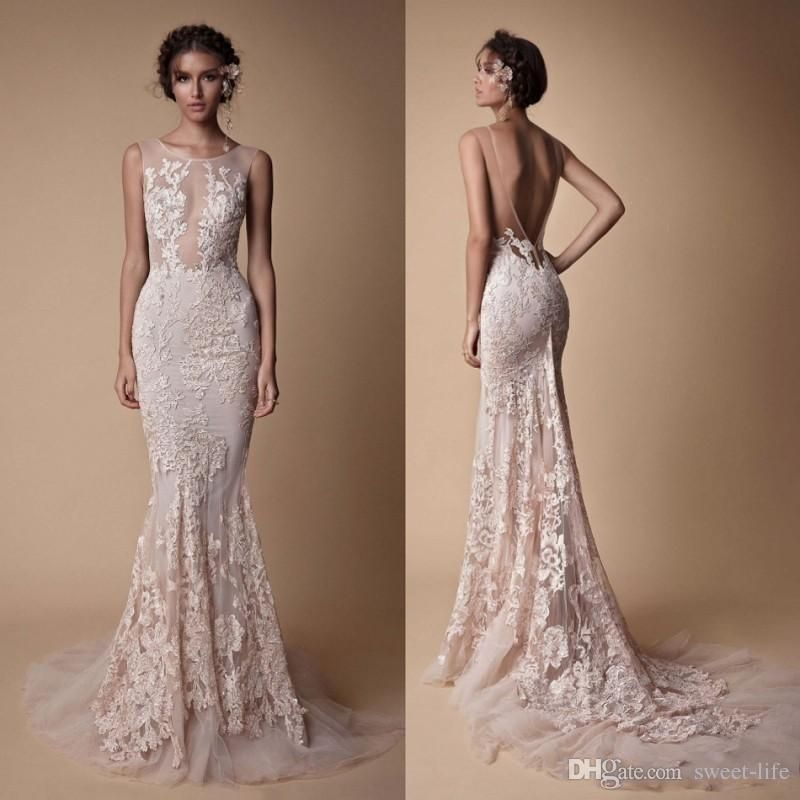 ca59bd770423 Berta Bridal Mermaid Backless Wedding Dresses 2018 Jewel Neckline Full Lace  Appliqued Custom Made Bridal Gowns Plus Size Wedding Gown White Wedding  Dresses ...