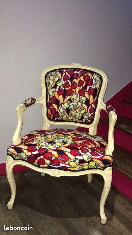 Fauteuil cabriolet louis XV wax Inspiration d Afrique °les meubles