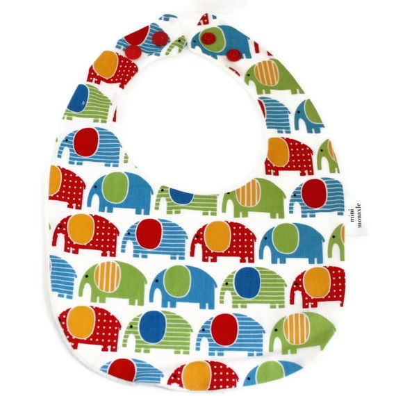 hand made Cotton baby dribble bib( bright elephants )