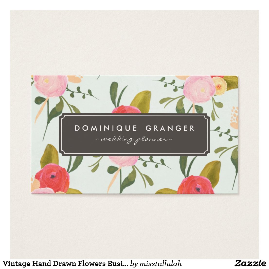 Vintage Hand Drawn Flowers Business Card | Business cards