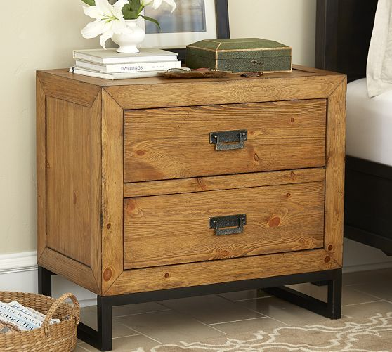 Hendrix Bedside Table Pottery Barn Cooper Wood Bedside