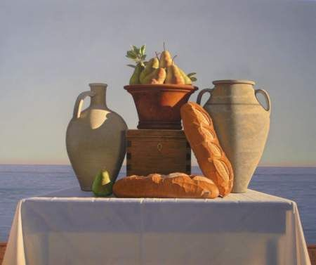 David  Ligare - Still Life with Bread and Pears