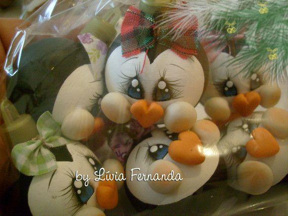 bola de navidad de pingüinos