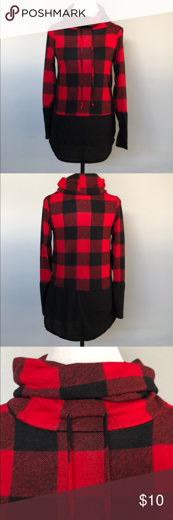 Cowl neck lumberjack plaid flannel pullover in my posh closet