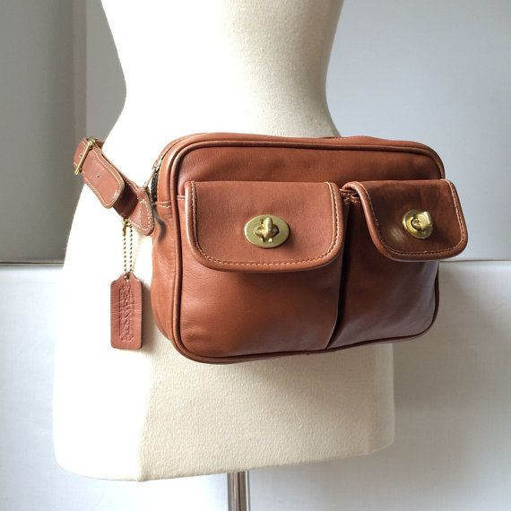 bf32f316faa Authentic COACH Fanny Pack Brown Genuine Leather Waist Bag Pouch ...