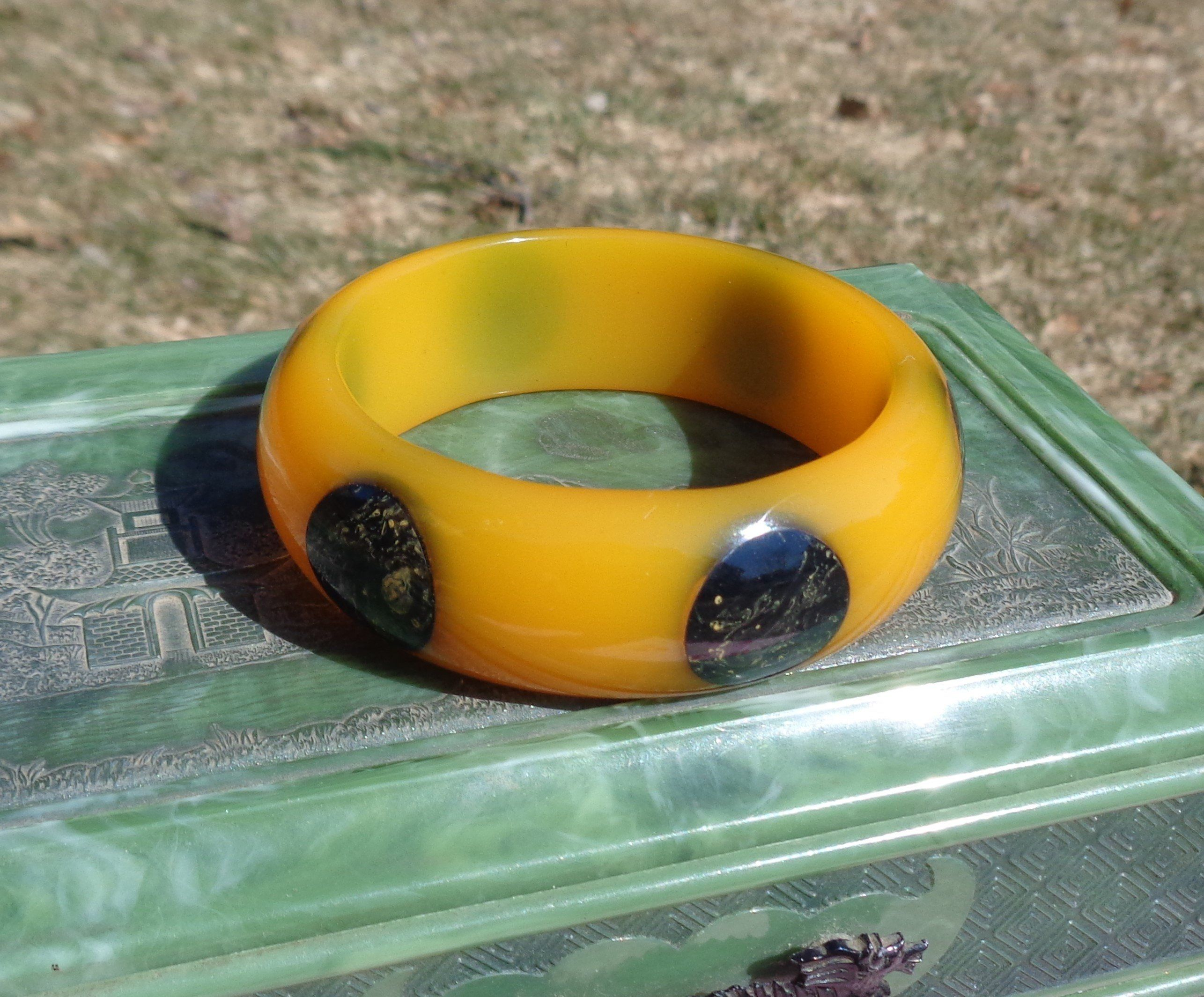 VTG Green Yellow Marbled End of Day BAKELITE TESTED Bangle Bracelet Necklace