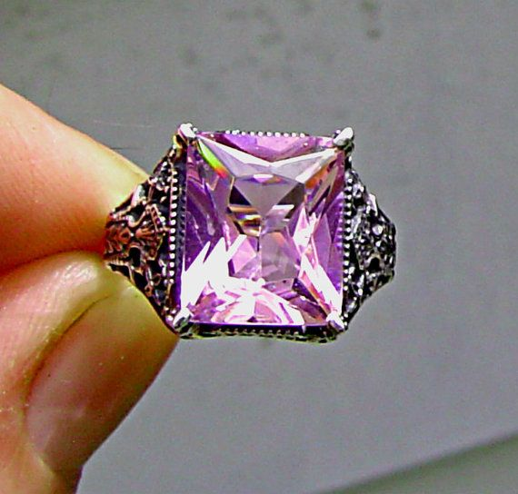 925 Silver Victorian Filigree Pink sapphire by UniqueSilverBox