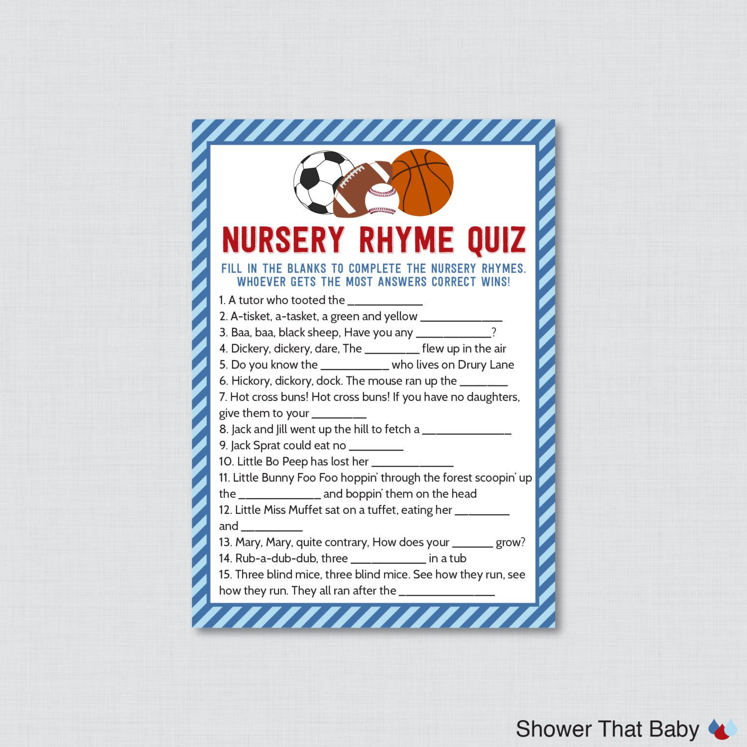 Sports Themed Baby Shower Nursery Rhyme Quiz Baby Shower Game In Blue And  Red   Printable Instant Download   Sports Baby Game  0015 B
