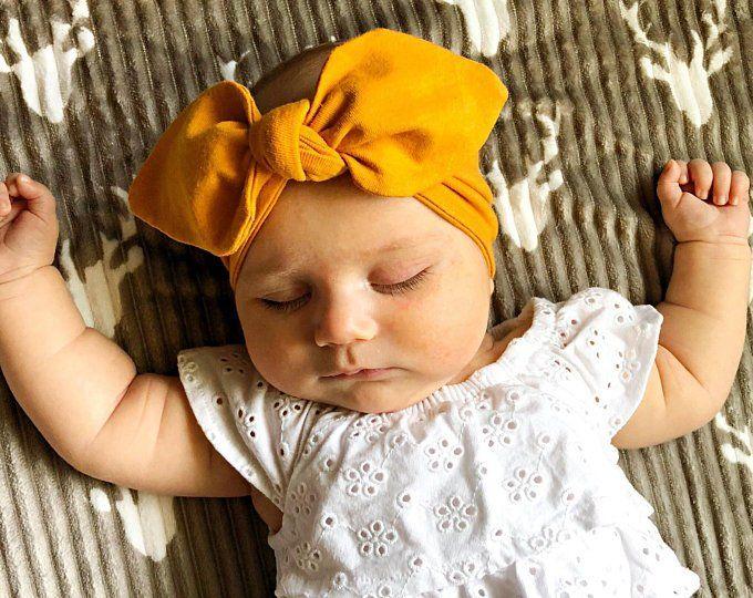 Mustard Baby Girl Top-Knot Headband. babystyle  birthdaybaby  newbornphotos b011c74398c