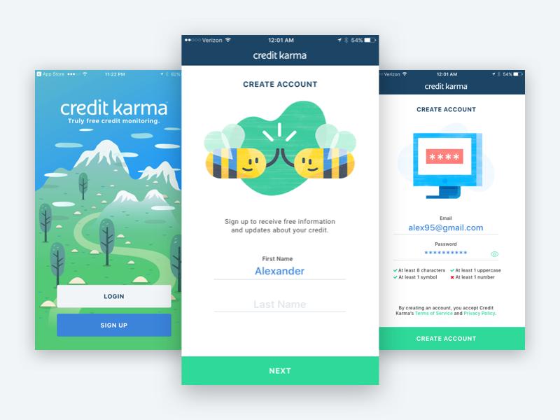 Credit Karma Sign Up Flow Redesign Credit Karma Signup Creditkarma
