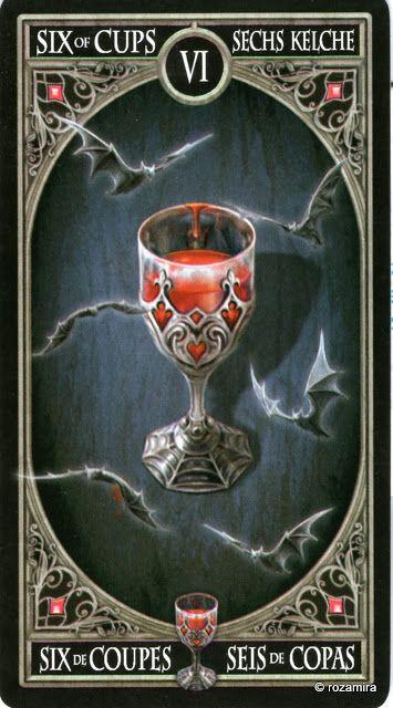 6 de coupes - Tarot gothique par Anne Stokes