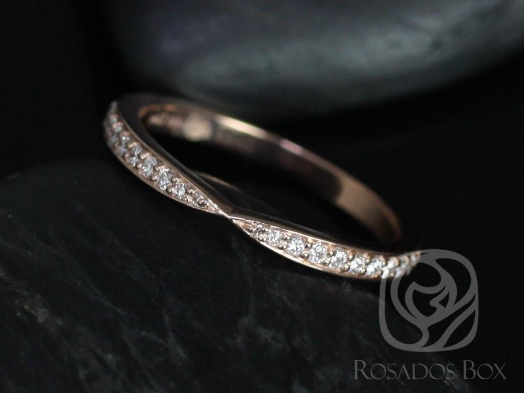 Rosados Box Marla 14kt Rose Gold Cinched Diamond Wedding Band