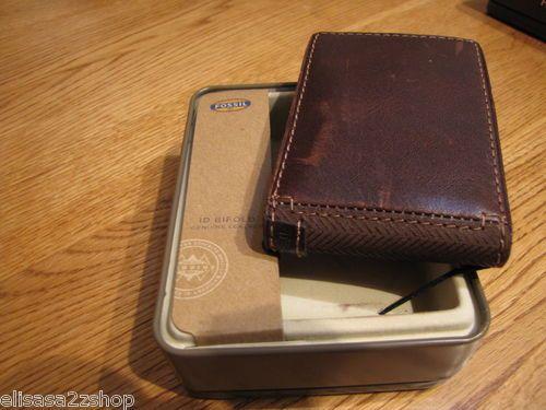 c8720ea86c60 Men s Fossil wallet leather Briggs flip ID bifold brown money clip  ML3185201 NEW