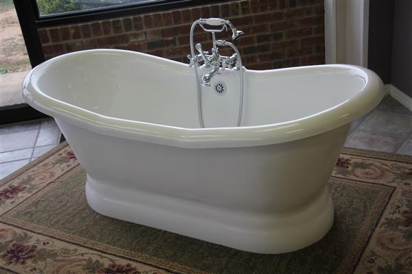 Photo of Empress 68 Acrylic Double Slipper Pedestal Bathtub – No faucet hole drillings