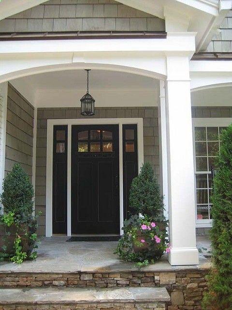 gray siding, white trim, black front door | Front Door