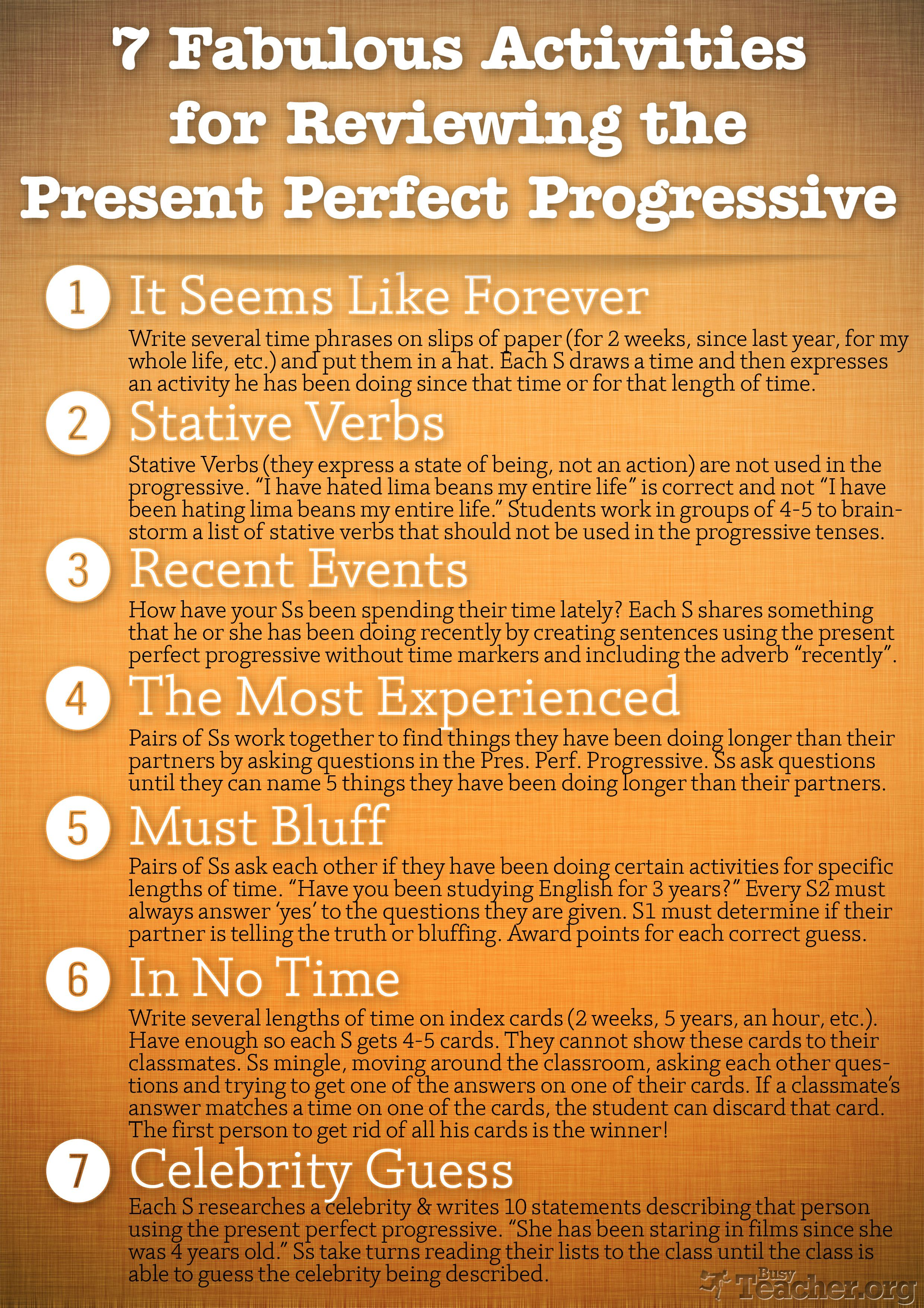 Speaking Game for the Present Perfect Continuous — TEFL ...