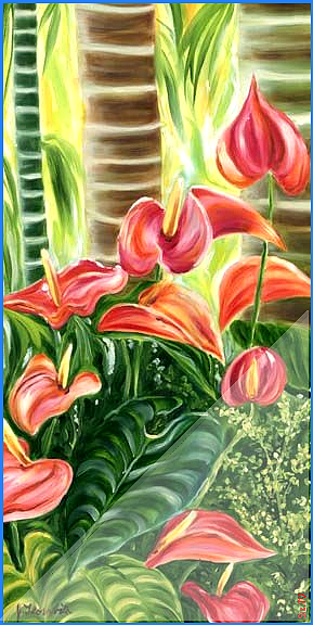Tropical Hawaiian Pink Anthurium Flowers Floravita Reverse Painted Glass Chandeliers Tropical Hawaiian Pink Anthur In 2020 Flower Painting Anthurium Flower Flower Art
