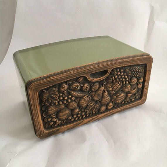 metal bread box vintage storage container Faux wood fruit 60s 70s