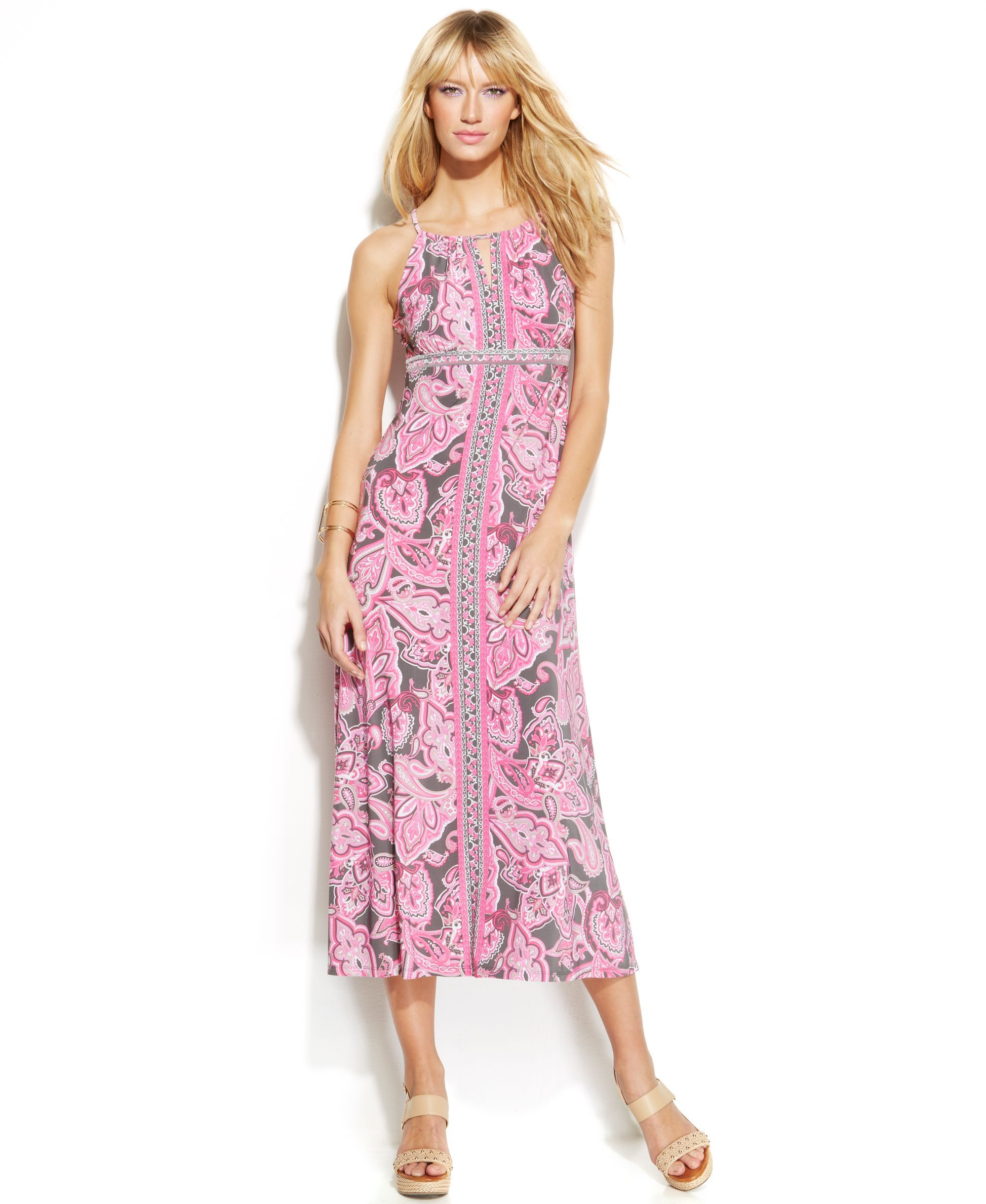 INC International Concepts Petite Paisley-Print Halter Maxi Dress ...