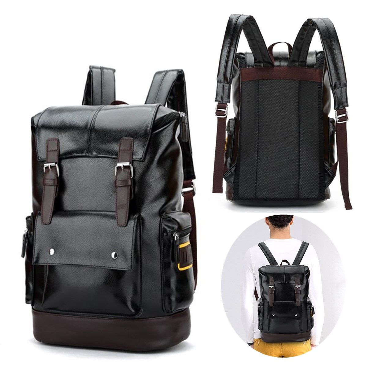 Men Retro PU Leather Shockproof Casual Travel Backpack