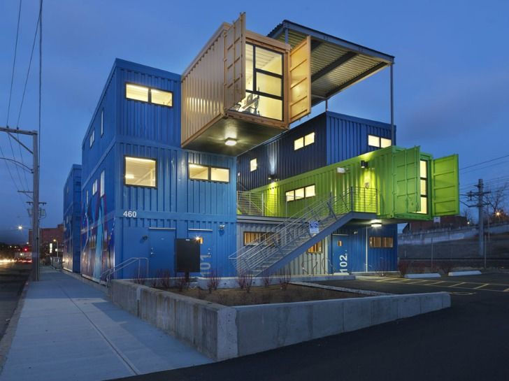 Cargo Box House the box office recycles 32 shipping containers into 12 colorful