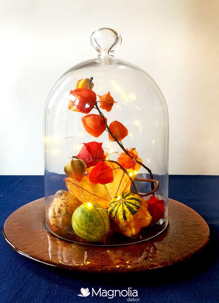Herbstliche Tischdeko unter einer Glasglocke - leicht zu zaubern #herbstlichetischdeko