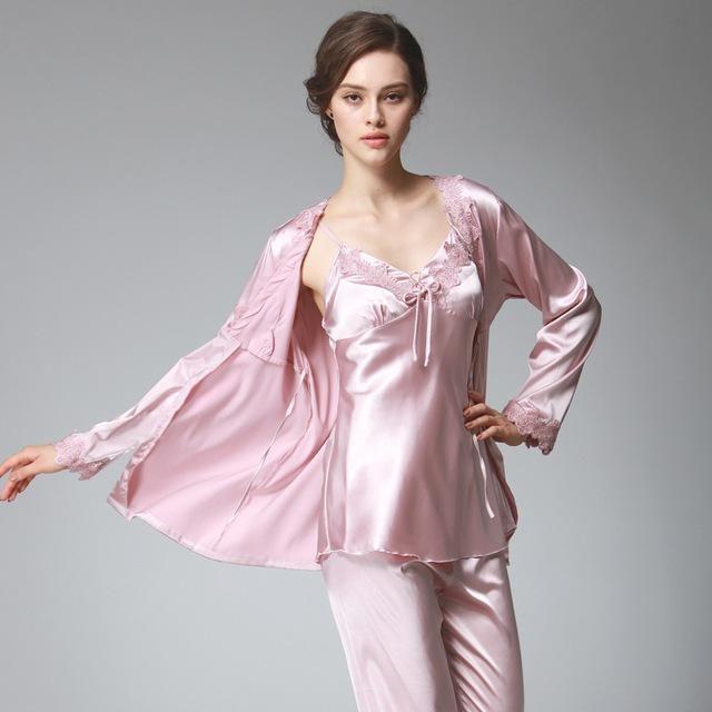 dbf6828dc0 Women Pajamas Sets 3 Pieces Sleep Lounge Elegant Satin Sleepwear Autumn  Spring V-Neck Pyjama Femme Silk Long Sleeve Home Suit