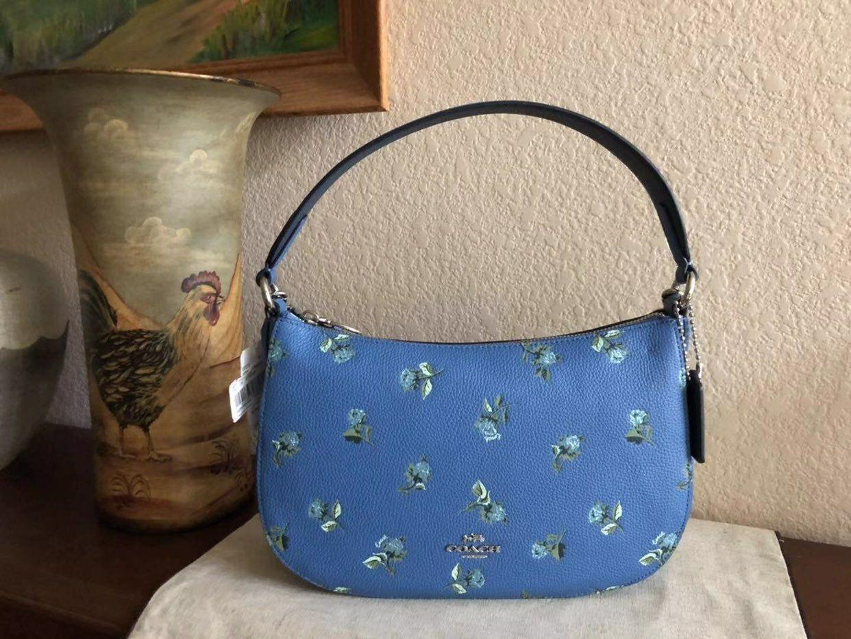Coach 55373 Sutton Crossbody Floral Print Leather Shoulder Bag
