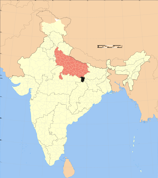File Sonbhadra district in Uttar Pradesh surrounded by