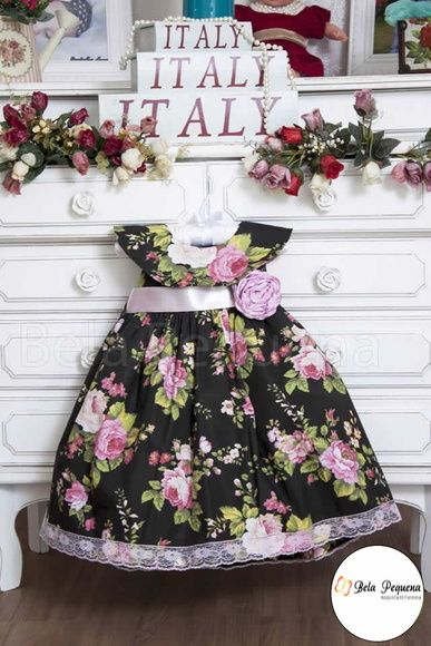 Vestido Infantil Preto Floral Rosa