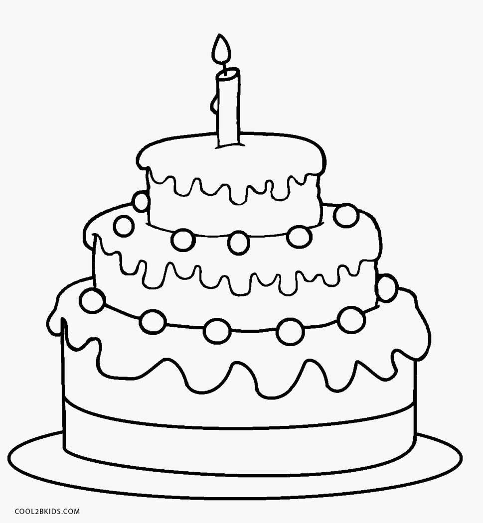 Coloring Page Of A Cake Birthday Coloring Pages