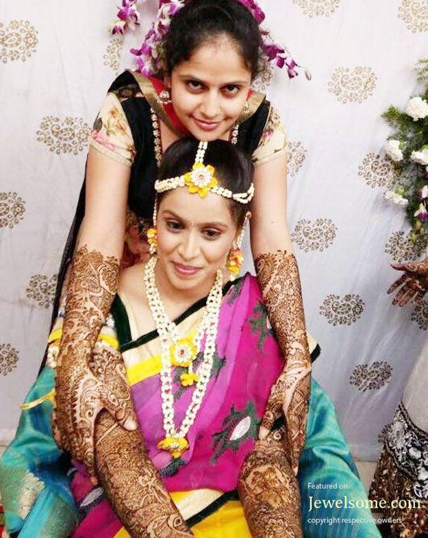 Flower-jewellery-for-mehndi-function-2 | flower | Pinterest ...