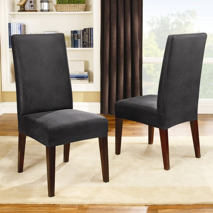 Sure Fit Stretch Pique Shorty Dining Room Chair Slipcover Black ...
