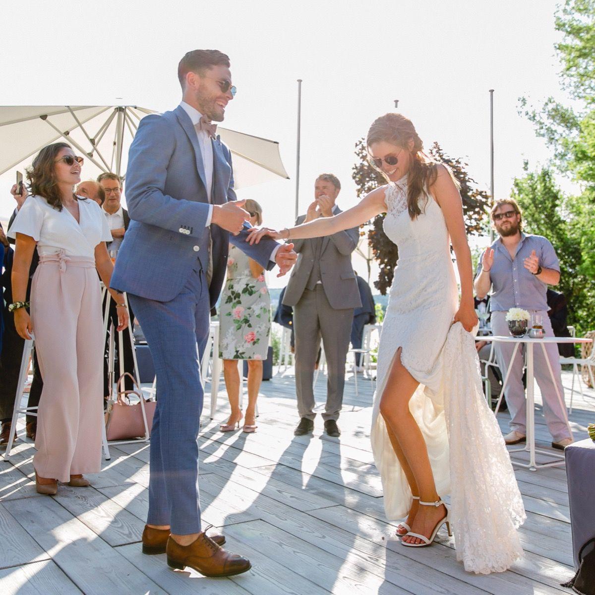 Real Groom Real Wedding Hochzeitskleid Spitze Kleid Hochzeit Anzug