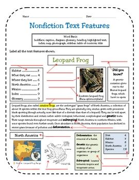 Nonfiction Text Features Assessment | Texts, Text features and ...