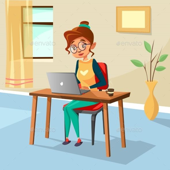 Vector Cartoon Girl Sitting At Cozy Workplace Desk Typing