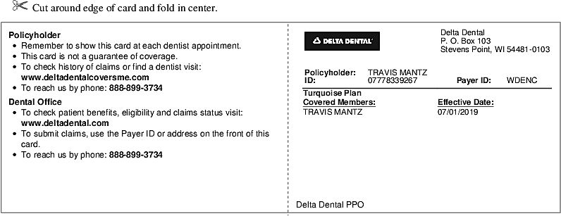 Print Id Card Delta Dental With Images Dentist Visit Dental