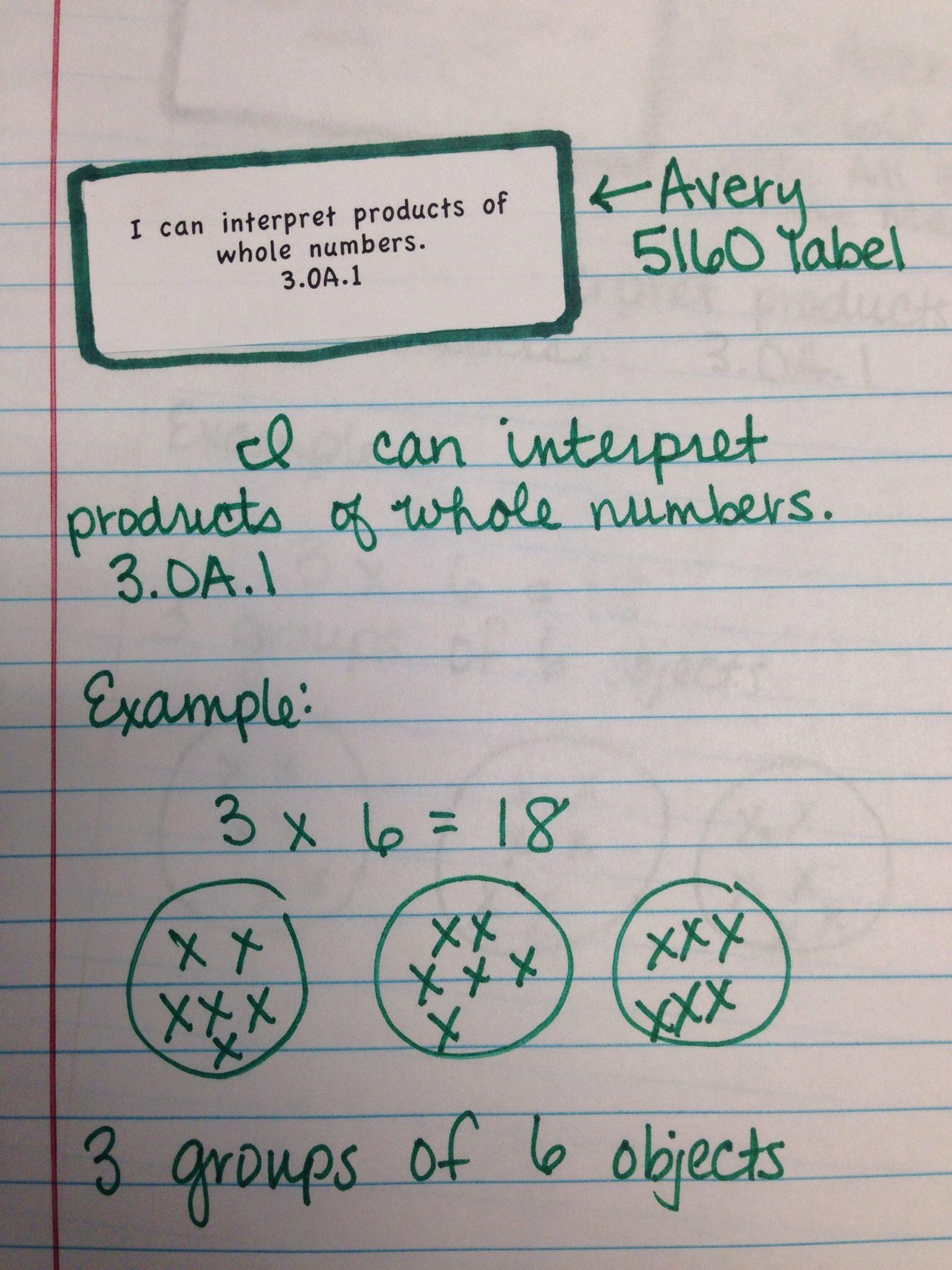 Interactive Math Journal I Can Labels 3rd Grade Math