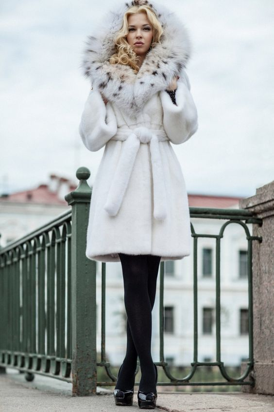 hooded white mink & lynx fur coat. can't stand how much I love ...