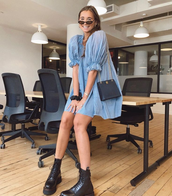 Blue Babydoll Dress and Combat Boots #summerstyle #styleblogger #ootd #chicoutfitideas
