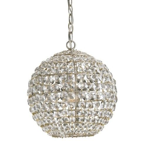 Simple, yet elegant, this globe of crystal is the perfect finishing touch for a small area or in multiplies for a dramatic effect. The wrought iron framework is finished with Silver Leaf so that everything about this design sparkles.
