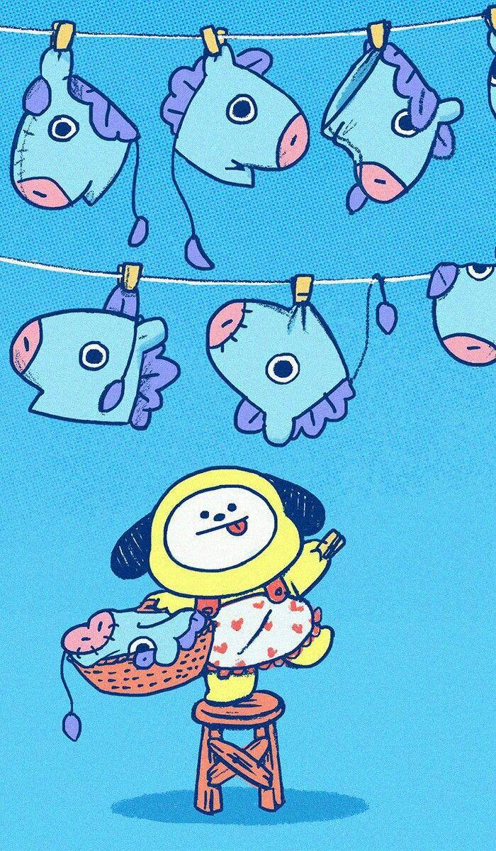 #bt21 🌟🌙 #shooky #cooky #tata #chimmy #mang #koya #Rj #wallpaper | Kawaii