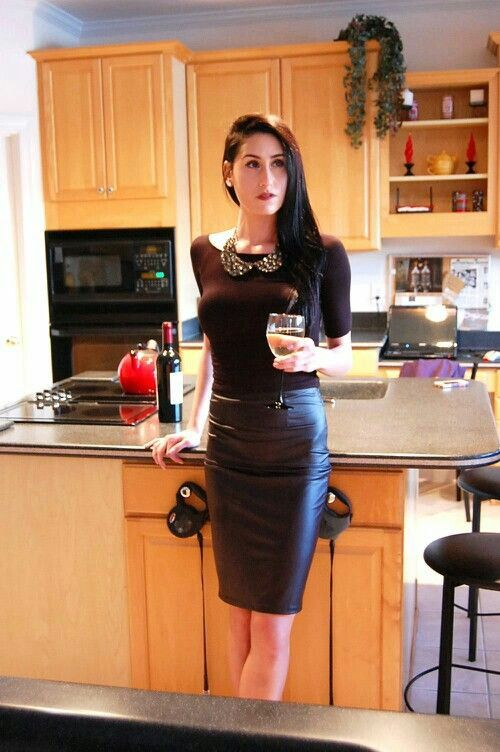 Perfect Body Woman In Short Tight Fit Leather Dress And Blue ...