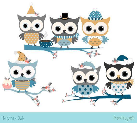 Cute Christmas Owl Clip Art Kawaii Christmas Bird Clipart Etsy Owl Clip Art Winter Owl Kawaii Christmas