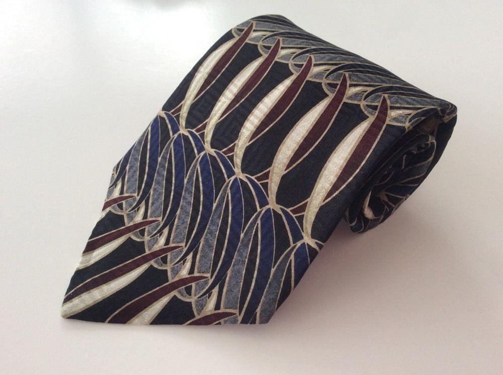 Bill Blass Black Label Neck Tie Black Blue Beige Red Geometric 100% Silk #BillBlass #NeckTie