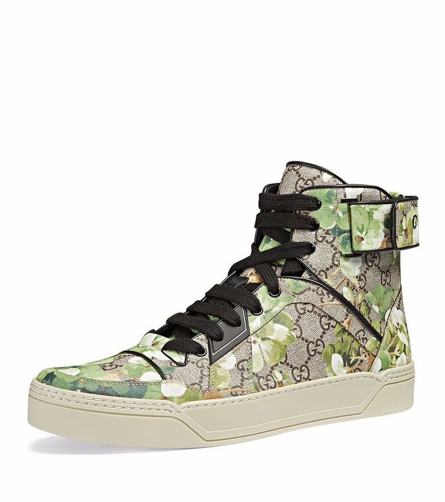9afd8e3edbb NIB Gucci Mens GG Blooms Printed Canvas New Basketball High-Top Sneakers 13   Gucci  FashionSneakers