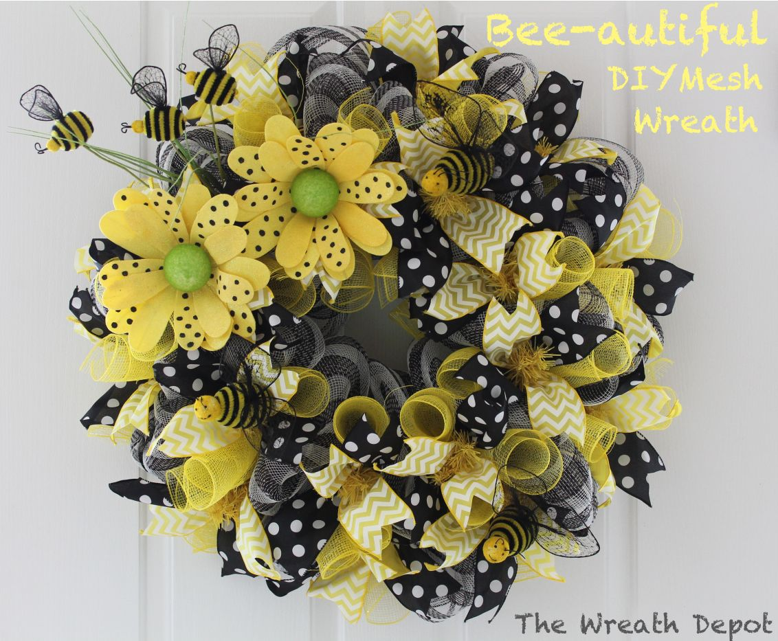 Who is ready for spring the bees and i are certainly ready this spring mesh deco ribbon wreath tutorial minus the bees baditri Images
