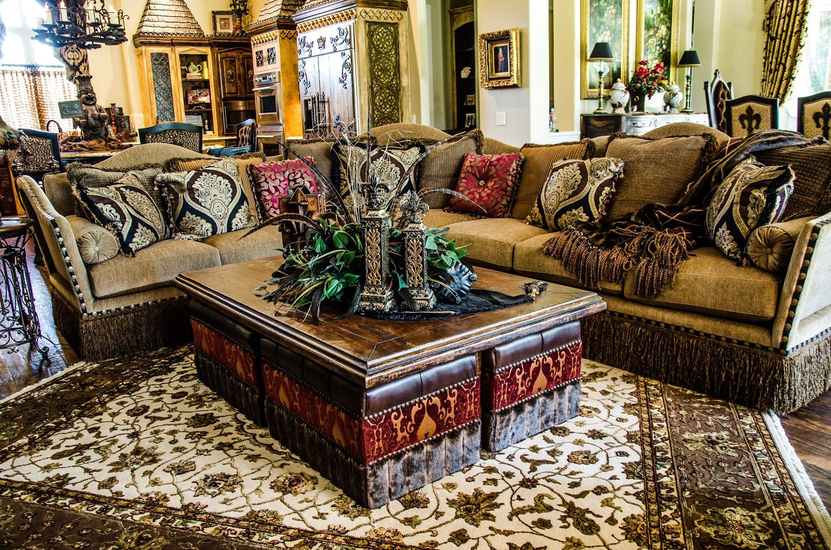 ottoman for living room%0A Love the idea of a coffee table with ottomans for extra seating underneath
