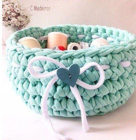 мк вязание корзины из трикотажной пряжи