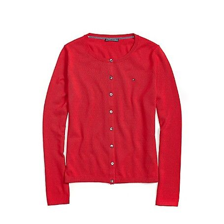 Classic Cardigan in Tango Red / Tommy Hilfiger USA / Classic fit / 100% Cotton